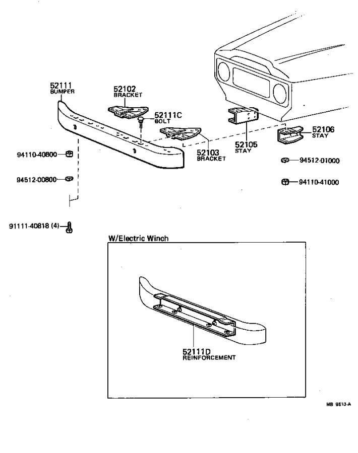 Toyota Land Cruiser Bumper assembly, front. Body, interior