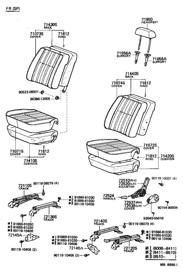 Toyota Land Cruiser Cushion assembly, rear seat (for bench