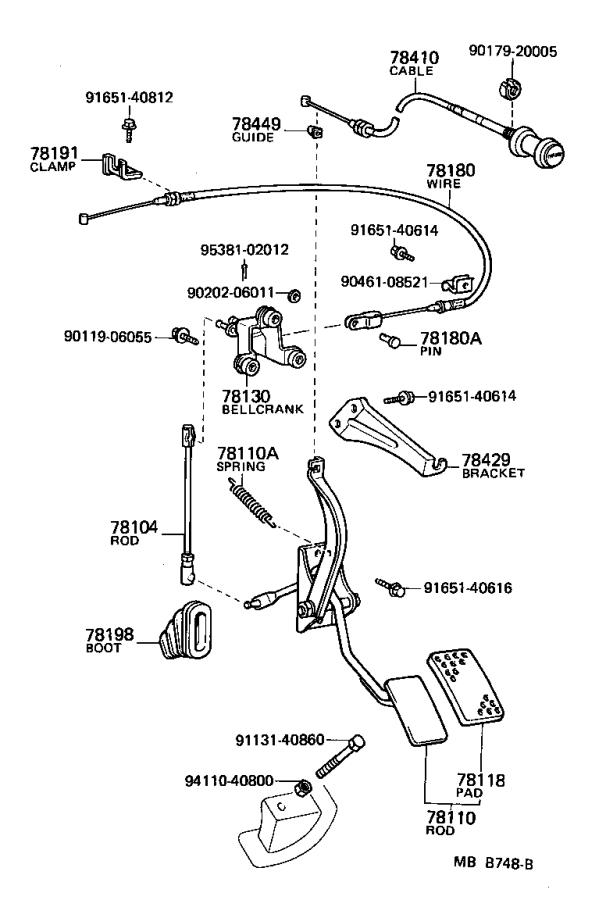 Toyota Land Cruiser Cable assembly, choke. Interior, body