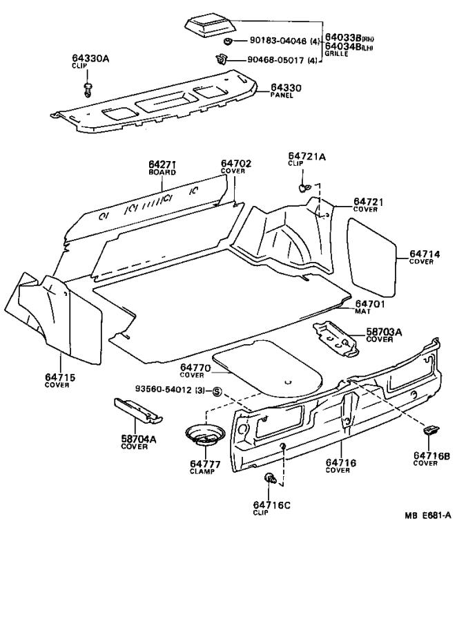 Toyota Camry Cover, luggage compartment trim, inner right