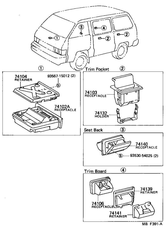Toyota Van Receptacle assembly; receptacle sub-assembly