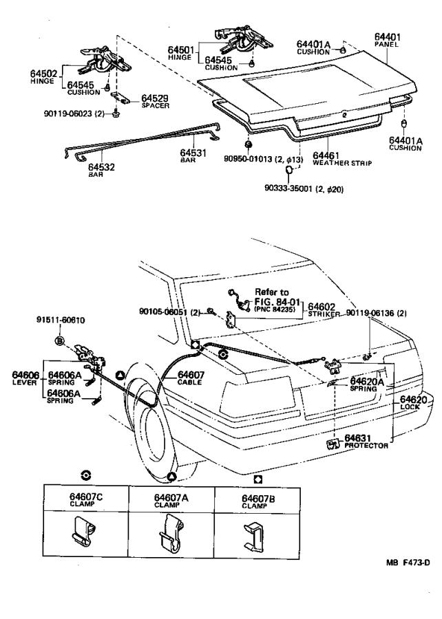 Toyota Corolla Weatherstrip, luggage compartment door