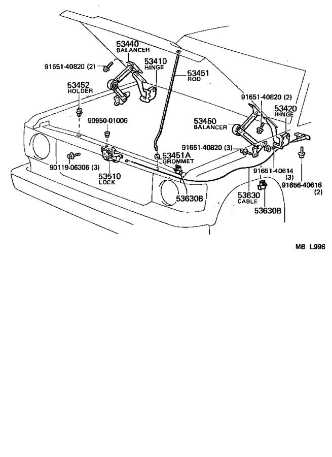 Toyota Land Cruiser Cable assembly, hood lock control