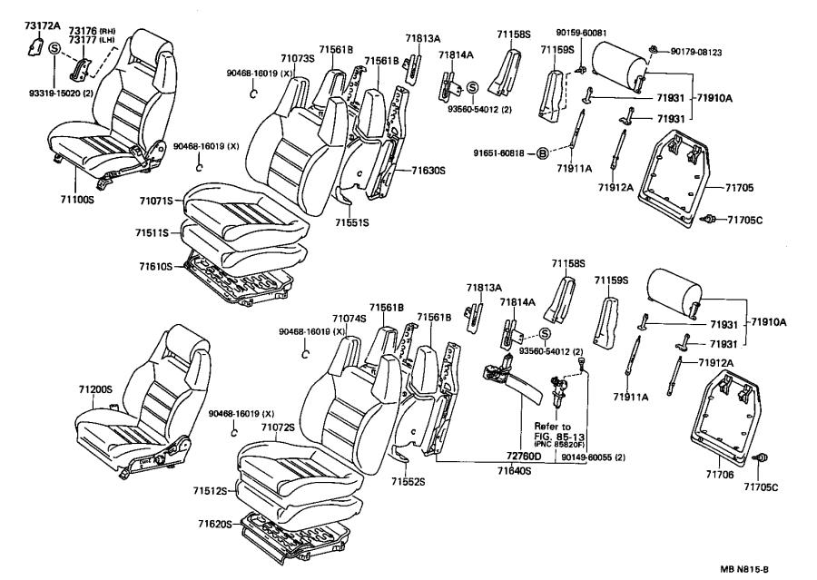 Toyota Supra Board sub-assembly. Front seat back, left