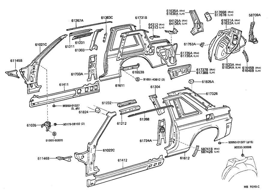 Toyota Tercel Pillar sub-assembly, front body, left
