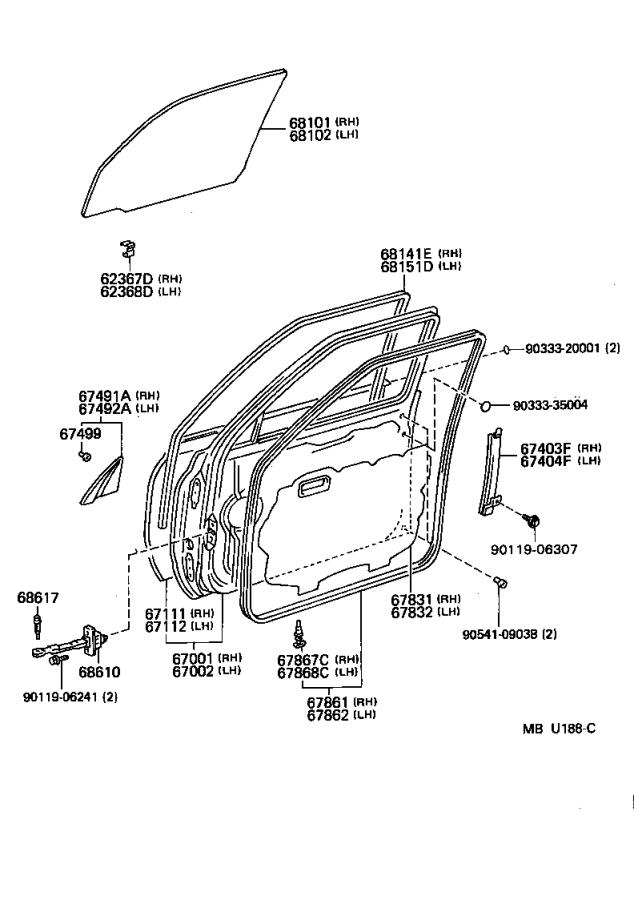 Toyota Land Cruiser Check assembly, front door. Interior