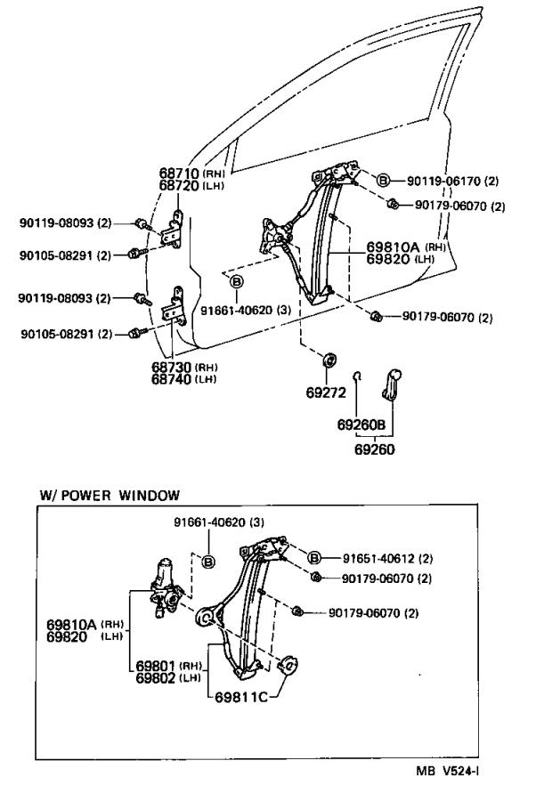 Toyota Corolla Window Regulator (Right, Front). Regulator