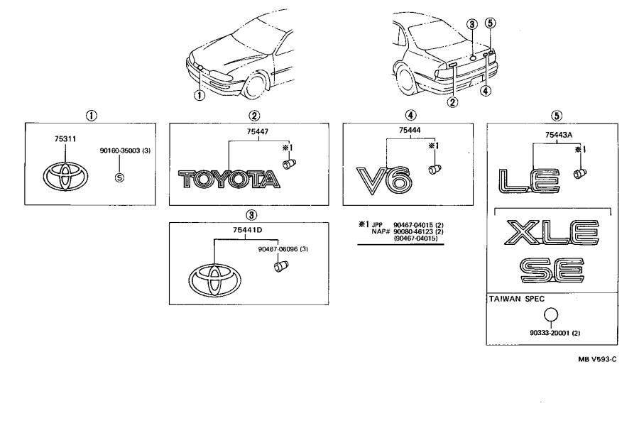 Toyota Camry Plate, luggage compartment door name, no. 1
