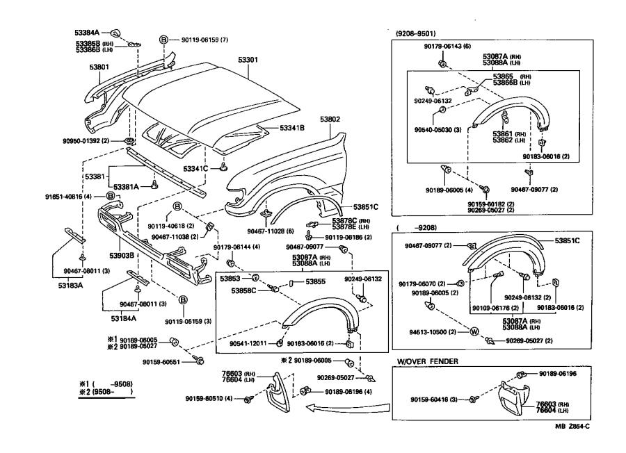 Toyota Land Cruiser Extension sub-assembly, front wheel