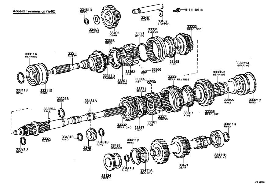 Toyota Corona Manual Transmission Countershaft Bearing