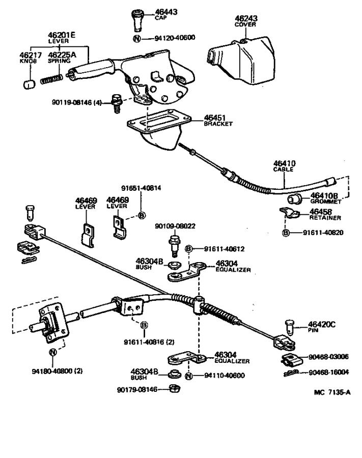 Toyota Land Cruiser Cable assembly, parking brake, no. 1