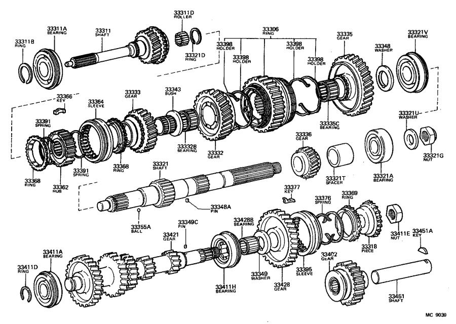 Toyota Land Cruiser Bearing. For input shaft front; for