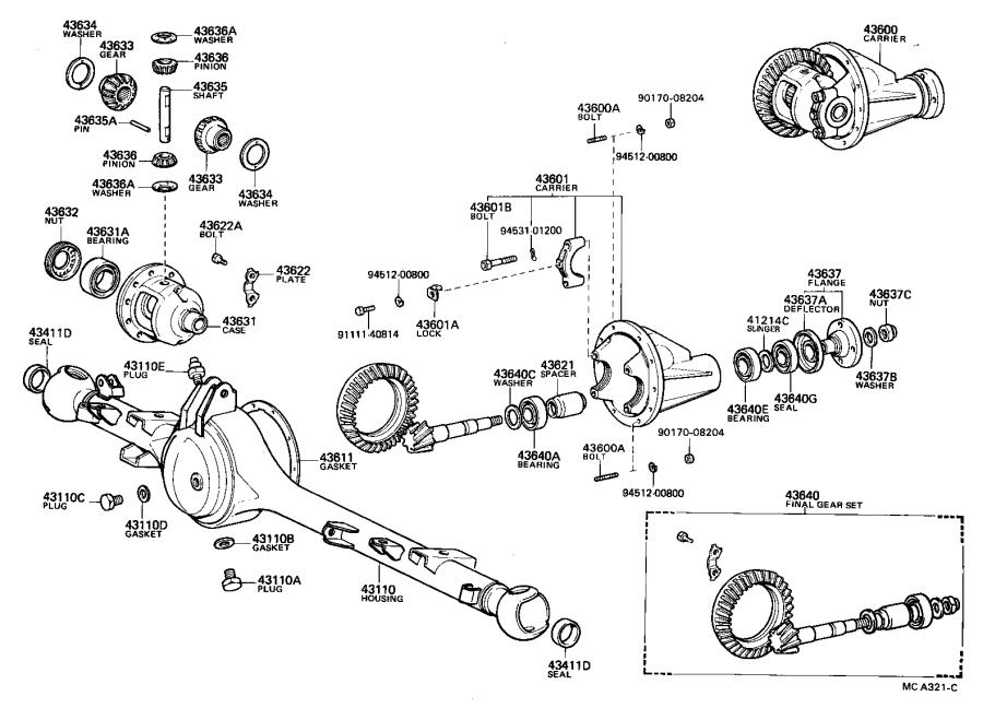 Toyota Truck Shaft sub-assembly, differential side gear