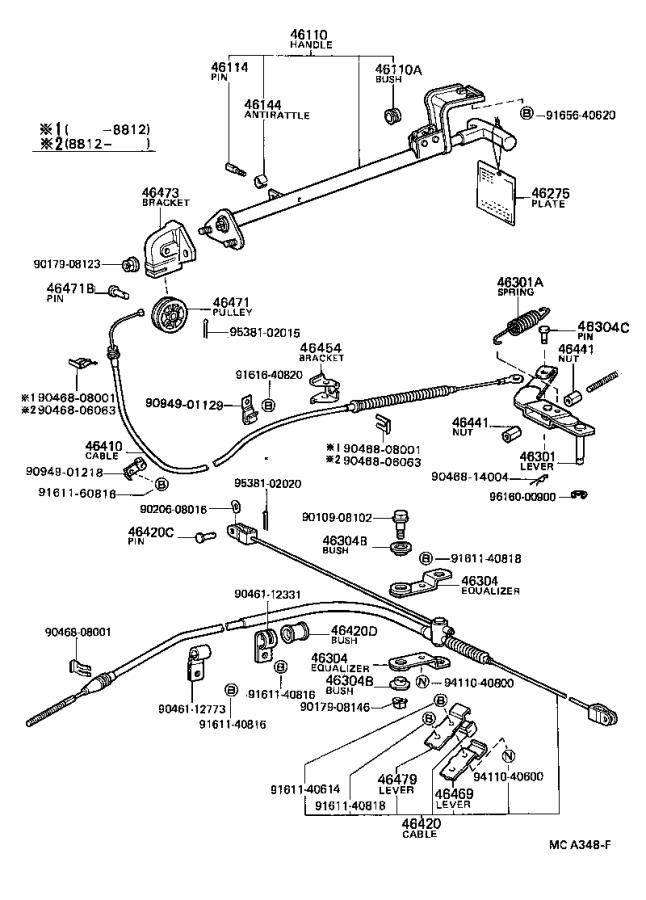 Toyota 4Runner Parking Brake Cable. Replace, Assembly