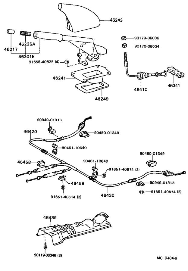 Toyota Tercel Parking Brake Cable. Replace, Assembly