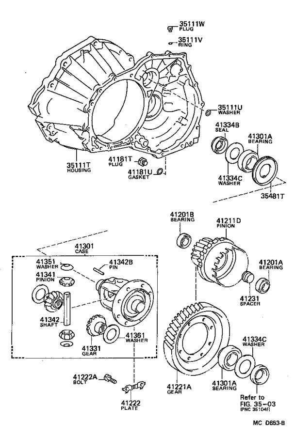 Toyota MR2 Automatic Transmission Differential Bearing