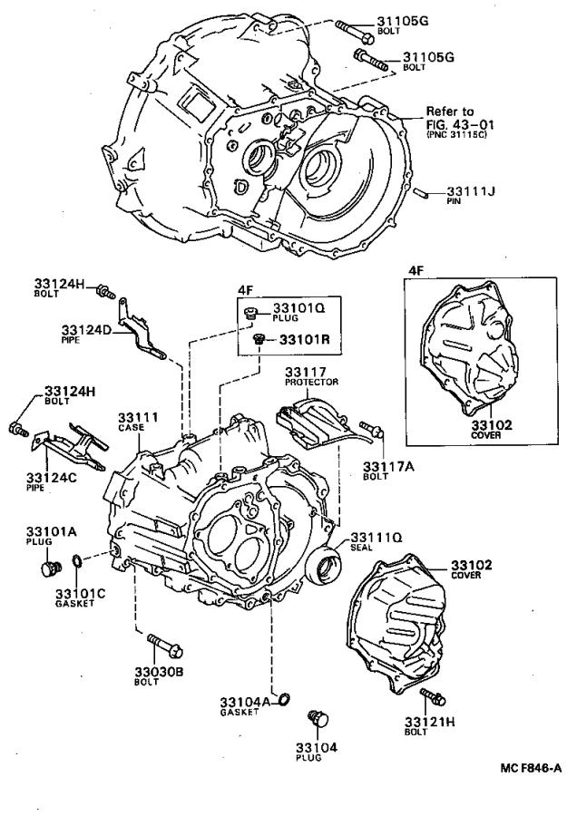 Toyota Tercel Cover sub-assembly, manual transmission case