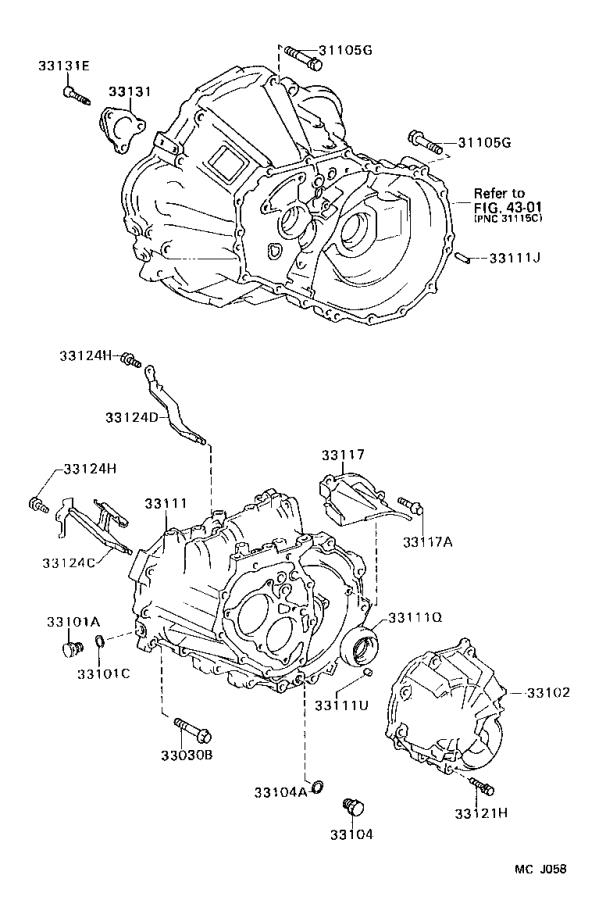 Toyota Corolla Cover sub-assembly, manual transmission