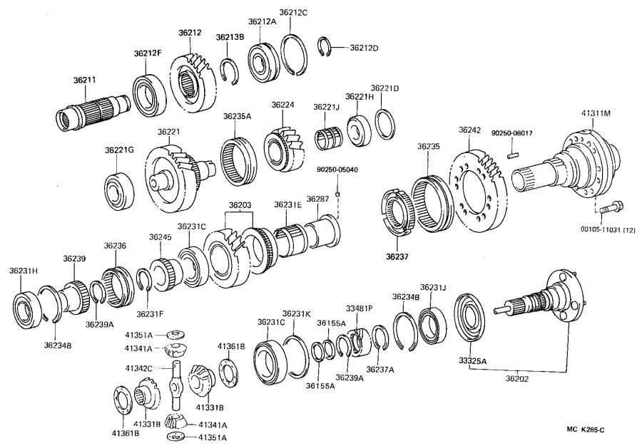 Toyota Land Cruiser Gear sub-assembly, transfer high speed