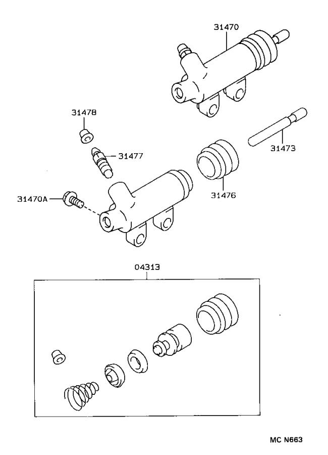 Toyota T100 Clutch Slave Cylinder. Concentric Slave
