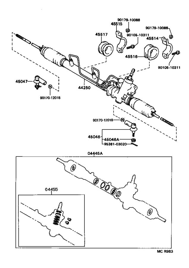 Toyota Paseo End sub-assembly. Tie rod, left; tie rod