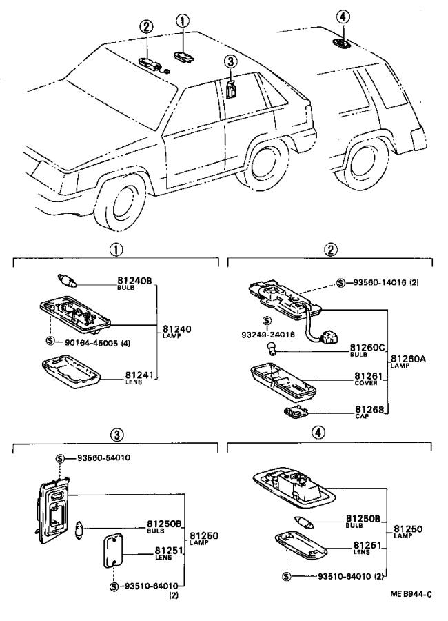 Toyota Tercel Lamp assembly, room, no. 2. Ivory
