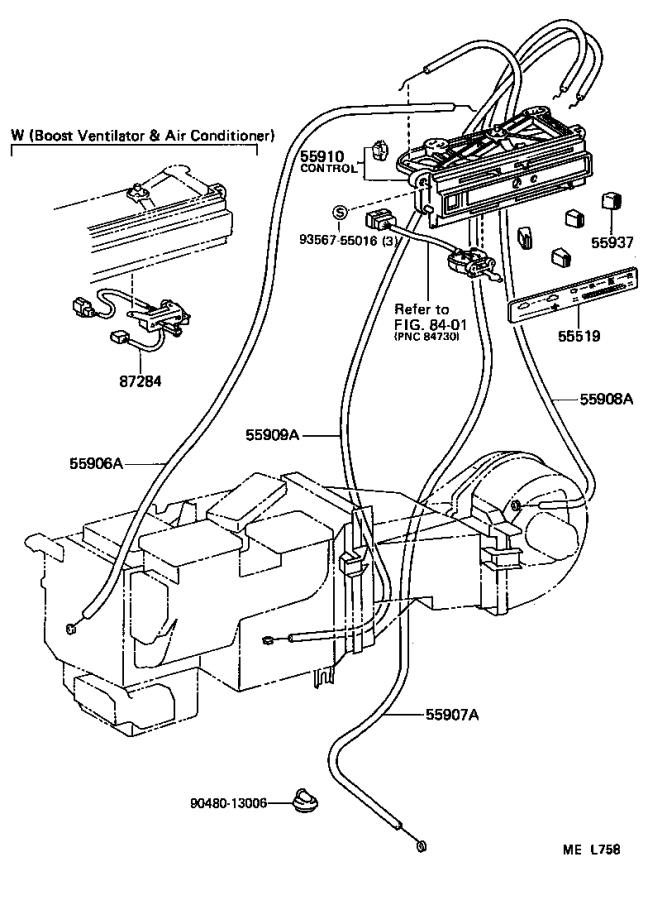 Toyota Van Duct, heater interior air (to rear). Usa