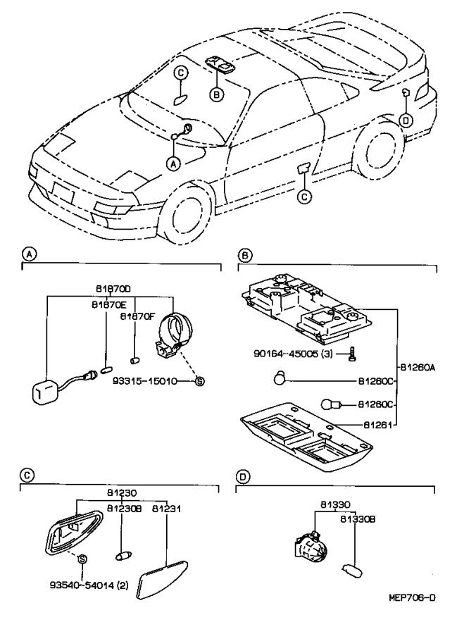 Toyota MR2 Lamp assembly, map. Red. Electrical, lighting