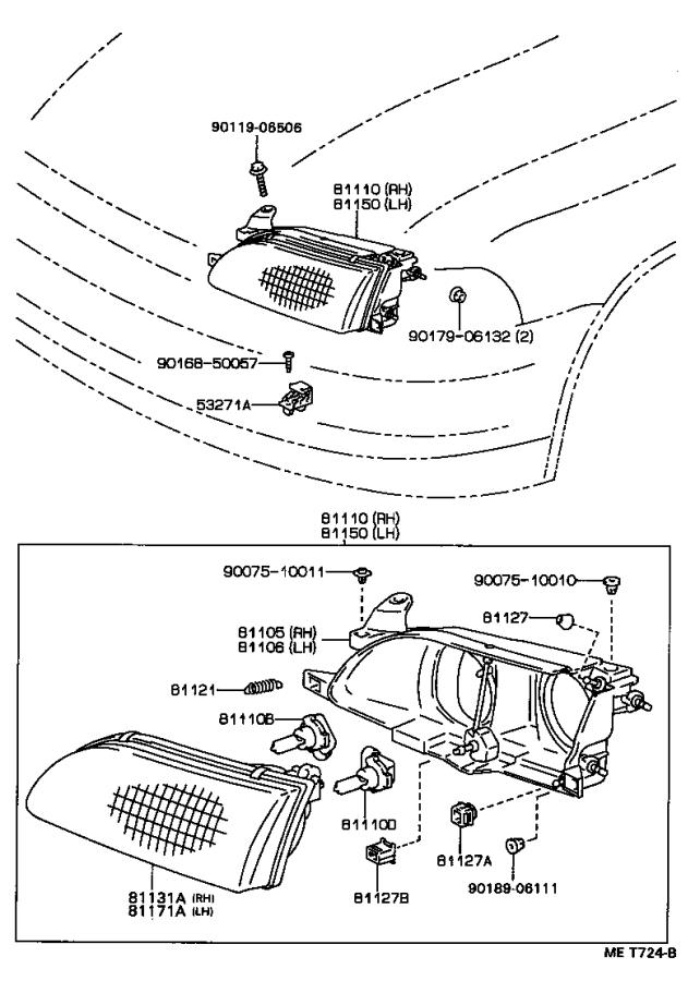 Toyota Corolla Headlamp assembly, right. Lighting, lamps