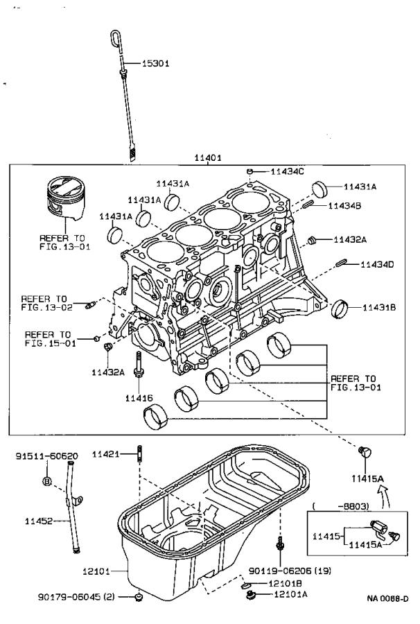 Toyota Corolla Block sub-assembly, cylinder. Engine