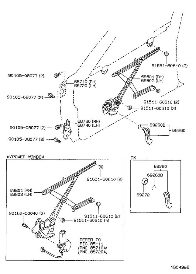 Toyota Corolla Window Regulator (Left, Front). Regulator