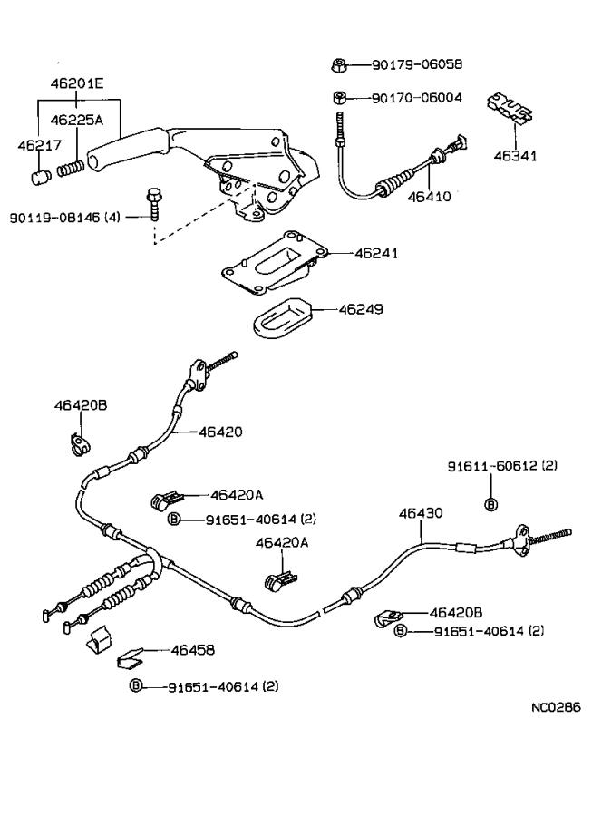 Toyota Corolla Parking Brake Cable. Replace, Assembly