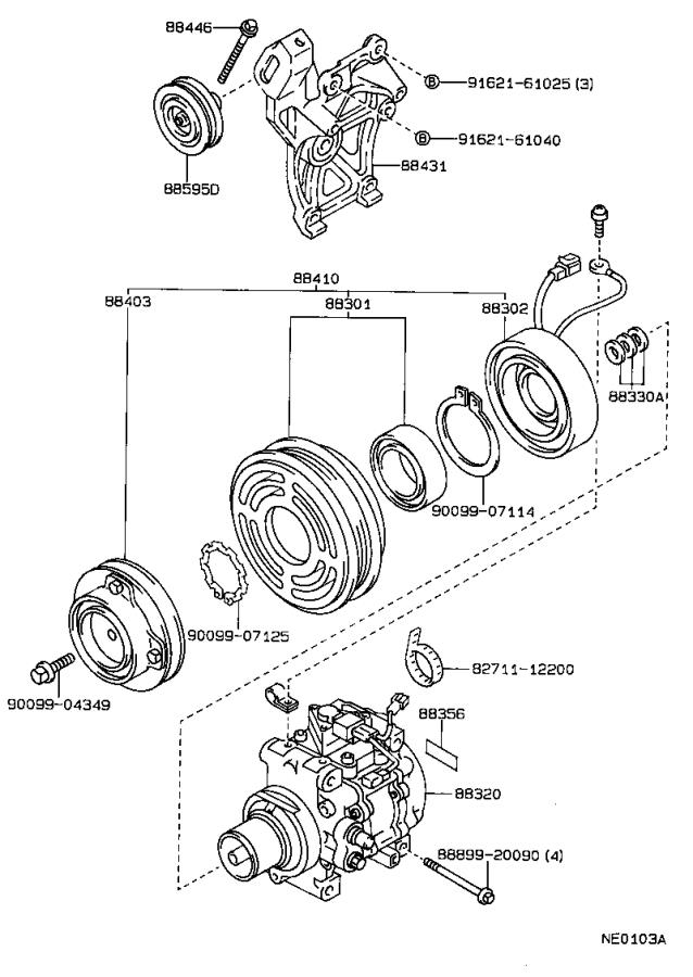 Toyota Corolla Clutch assembly, magnet. Compressor