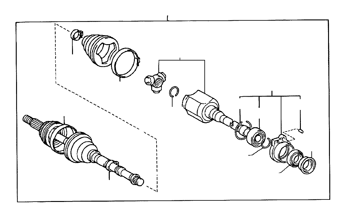 Toyota MR2 Cv axle (right, front, rear). Shaft, constant