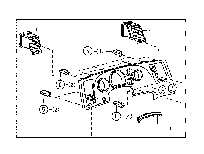 Toyota Sequoia Register assembly, instrument panel, no. 2