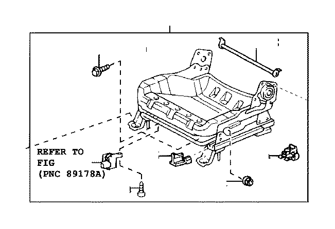 Scion XA Adjuster sub-assembly, front seat, left. Interior