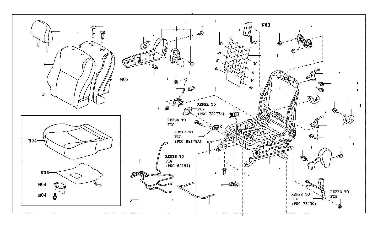 Toyota Matrix Frame Assembly Front Seat With Adjuster