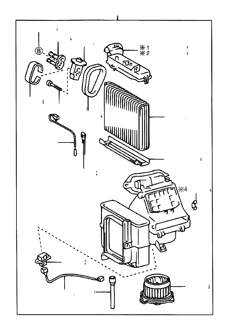 Toyota Echo Motor sub-assembly, blower with fan. Air