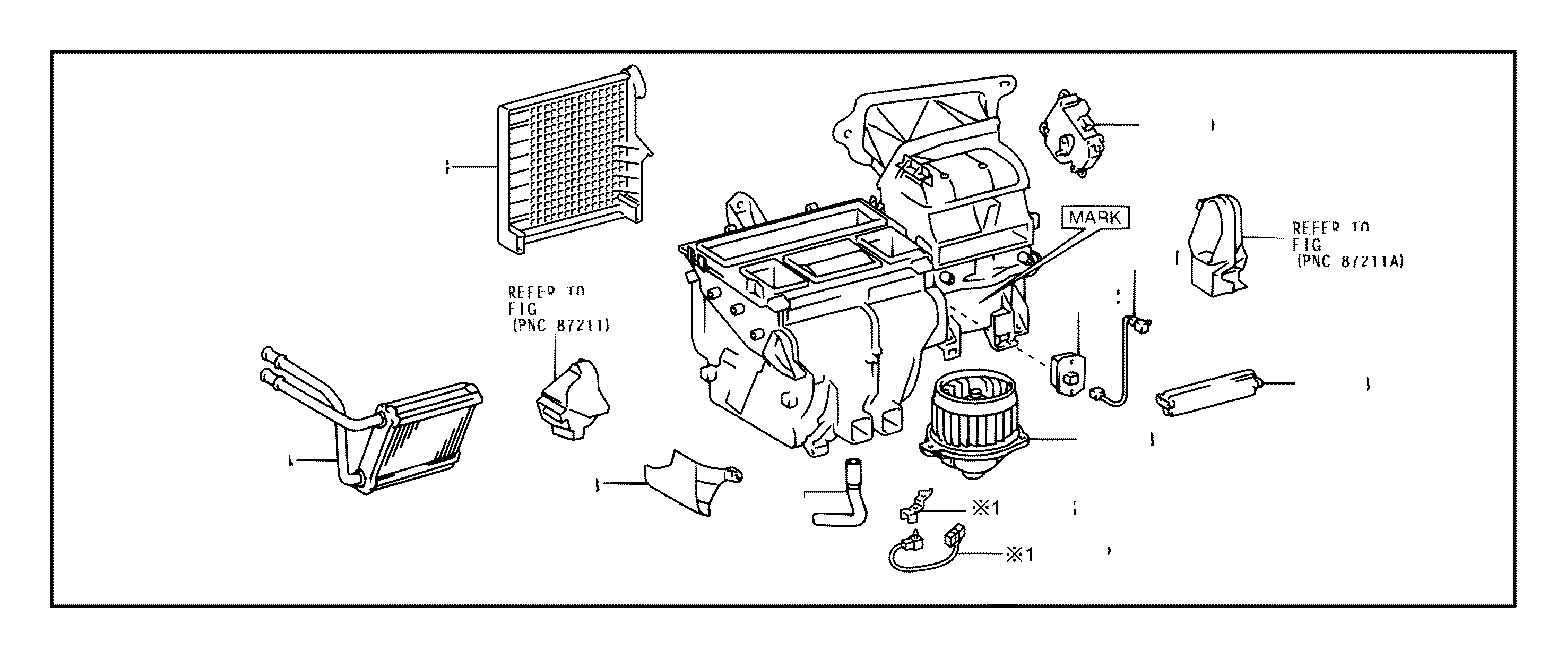 Toyota Corolla Hvac heater core. Unit, heater radiator