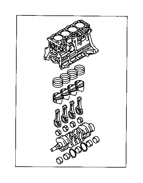 Toyota Corolla Block assembly, short. Engine, components