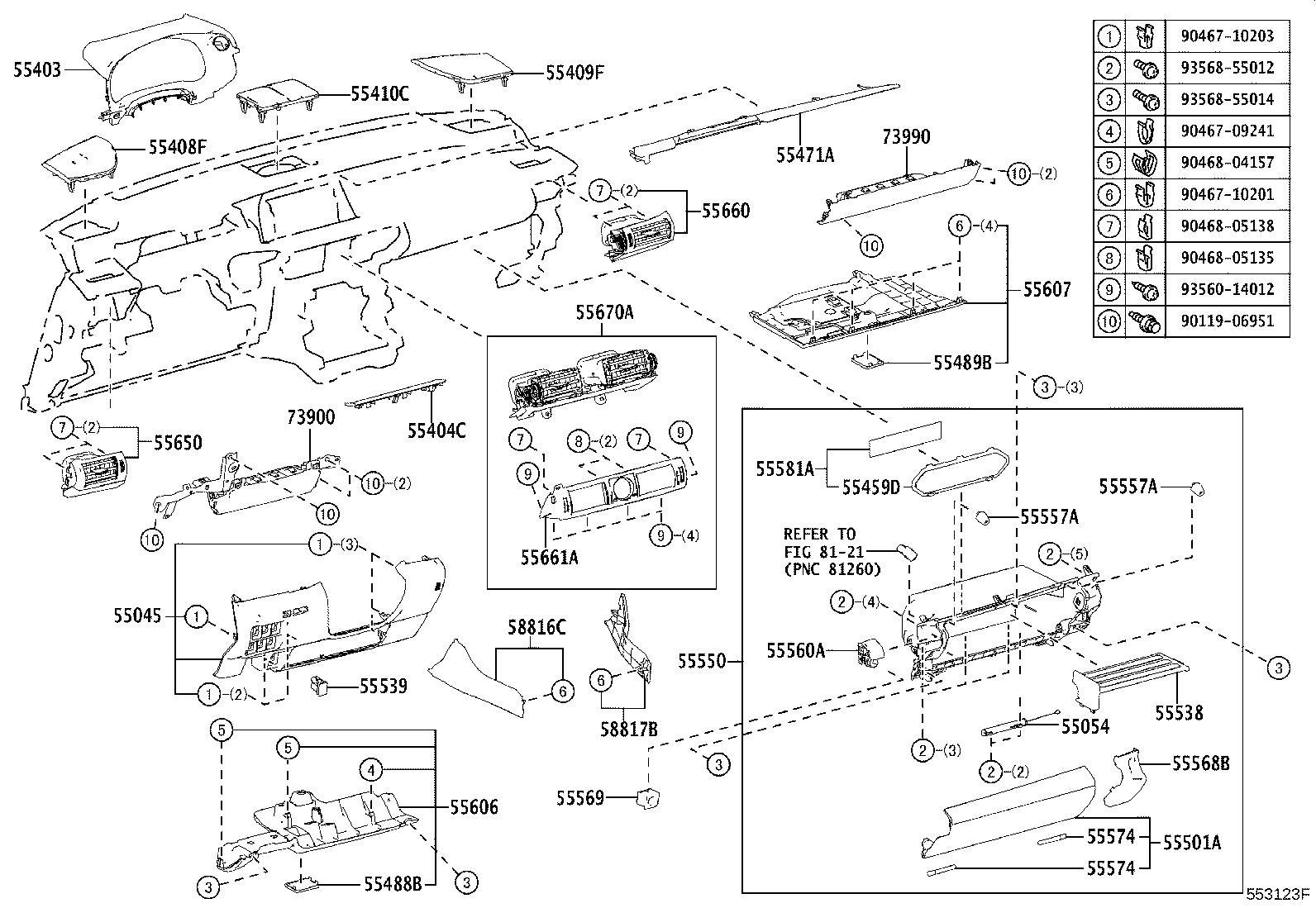 2021 Lexus IS 350 Console Trim Panel Cap. DISPLAY, Body