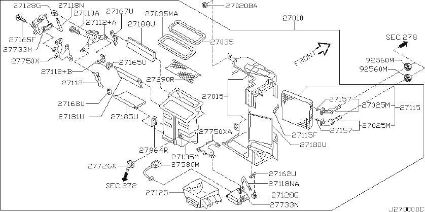 Nissan Maxima Hvac floor mode door actuator. Unit, con