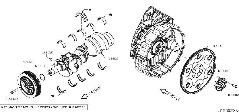 Nissan Titan Bolt Flywheel. CRANKSHAFT, PISTON, Engine