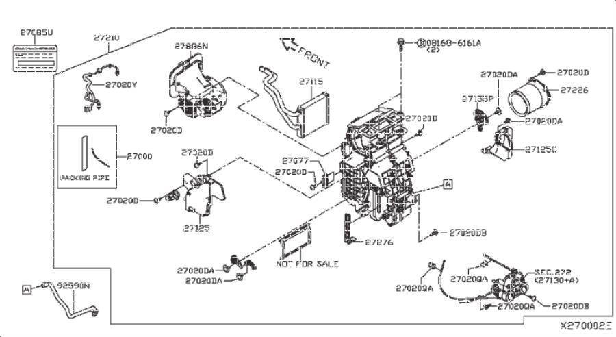 Nissan Versa Note A/c evaporator core (front). Unit