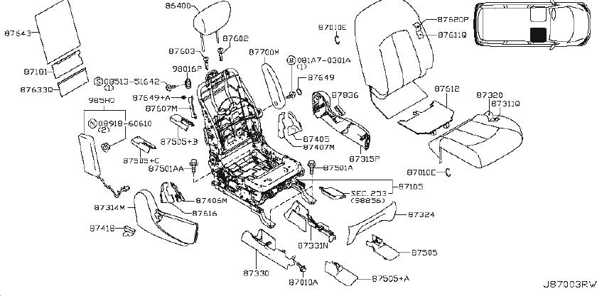 Nissan Quest Seat Frame (Left, Front). MANUAL, Trim