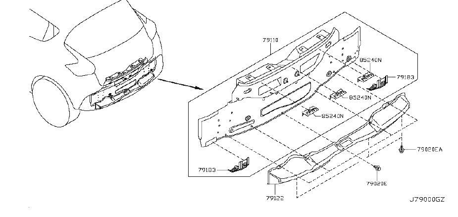 Nissan Juke Rear Body Panel Reinforcement Bracket (Rear