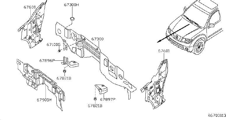 Nissan Xterra Firewall (Lower). FITTING, DASH, PANEL