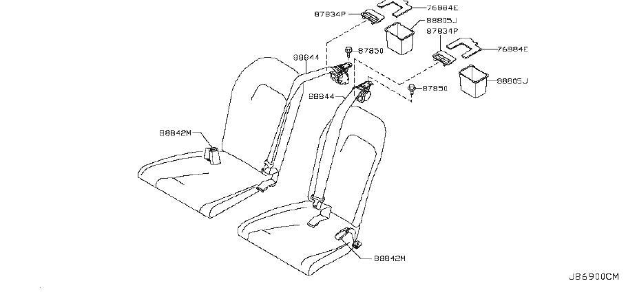Nissan GT-R Seat Belt Lap And Shoulder Belt (Rear). CGPXZ