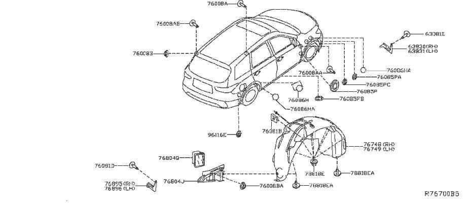 Nissan Pathfinder Quarter Panel Splash Shield (Right, Rear