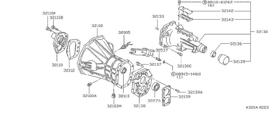 Nissan Pulsar NX Bolt Hex. TRANSMISSION, CASE, SPEED